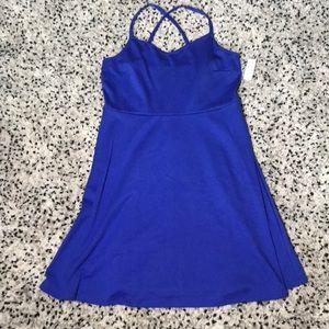 Blue Crisscrossing back Dress